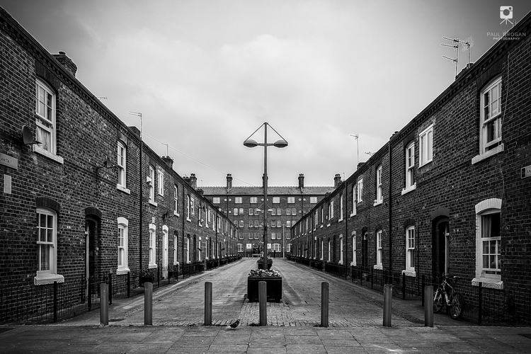 Ancoats victorian terraces black white photograph