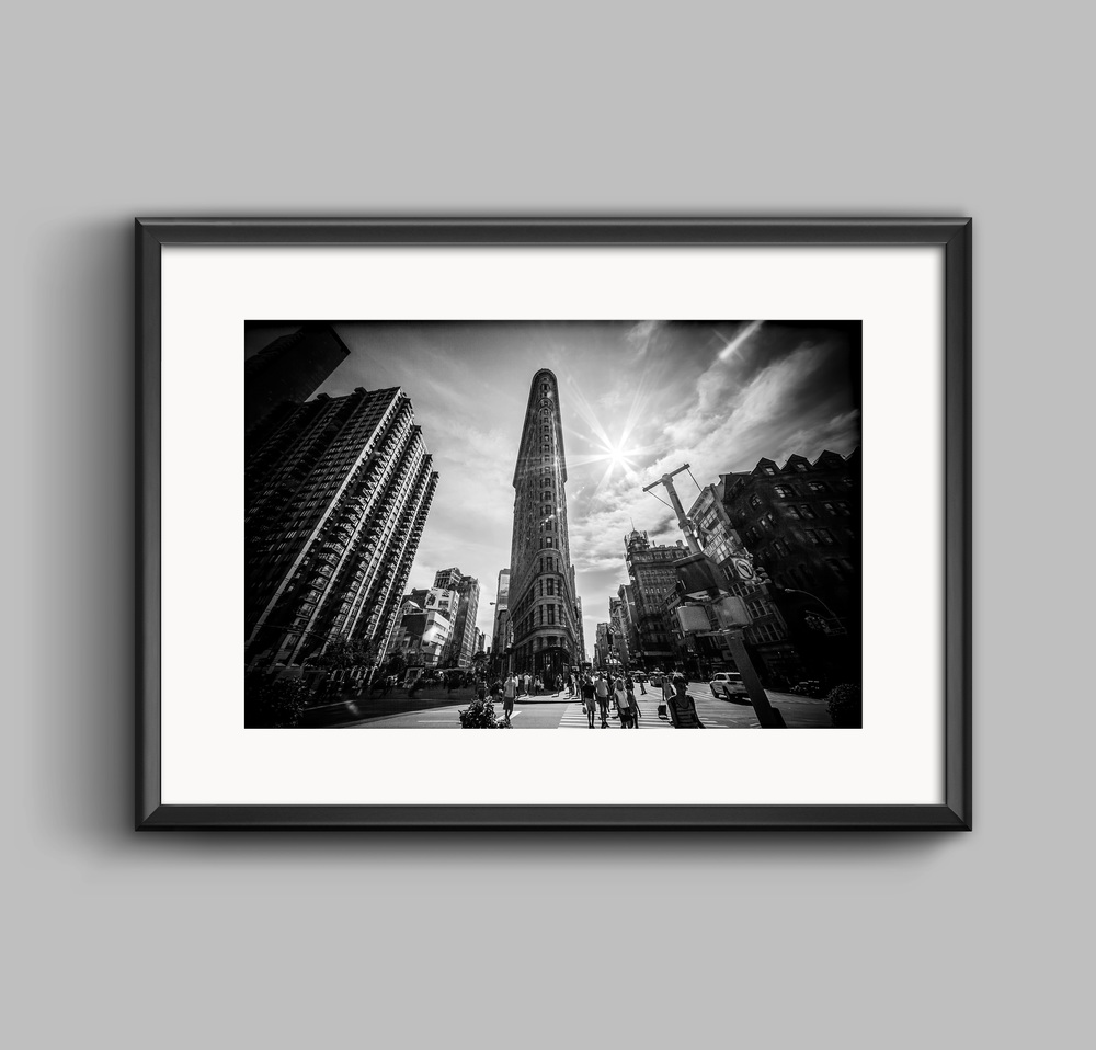 The flatiron building new york black and white landscape