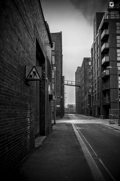 Crossroads manchester urban black and white photograph