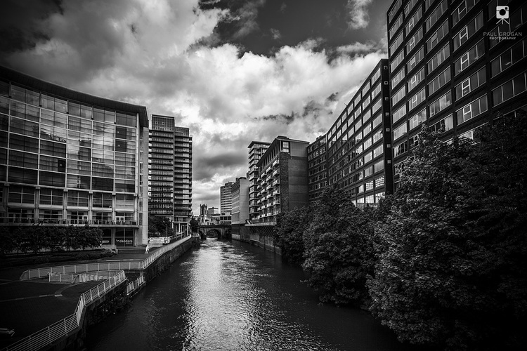 Blackfriars bridge manchester urban black and white photograph