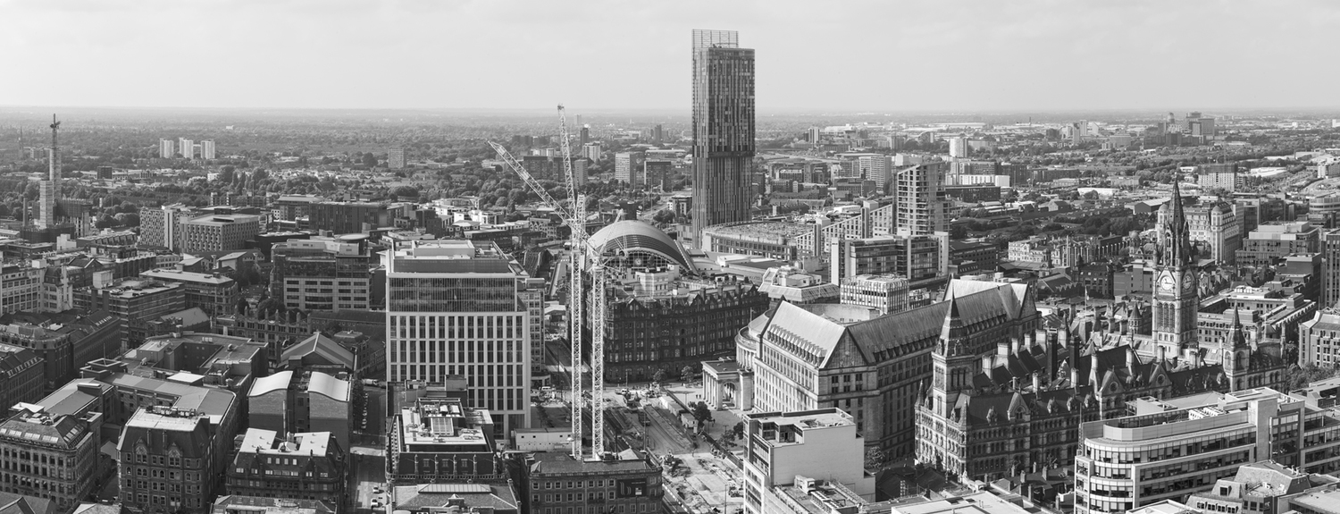 Manchester city centre skyline panoramic print jpg