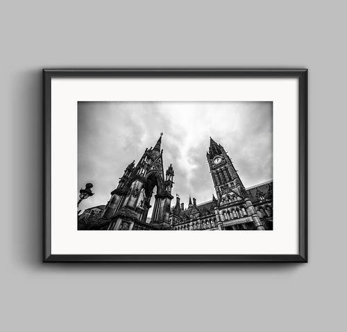Manchester town hall black and white landscape framed