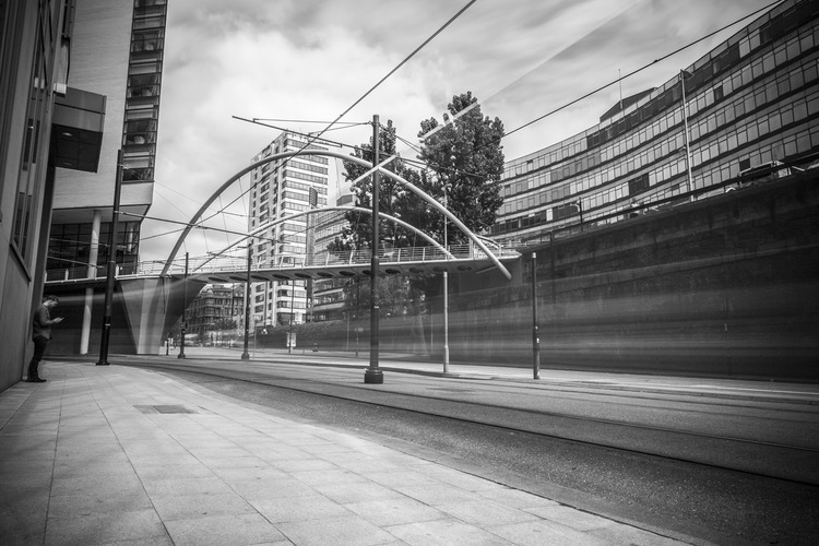 City life manchester black and white landscape photograph