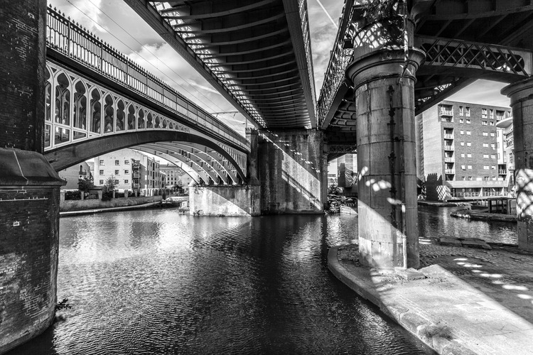 Castlefield convergence manchester black and white landscape photograph