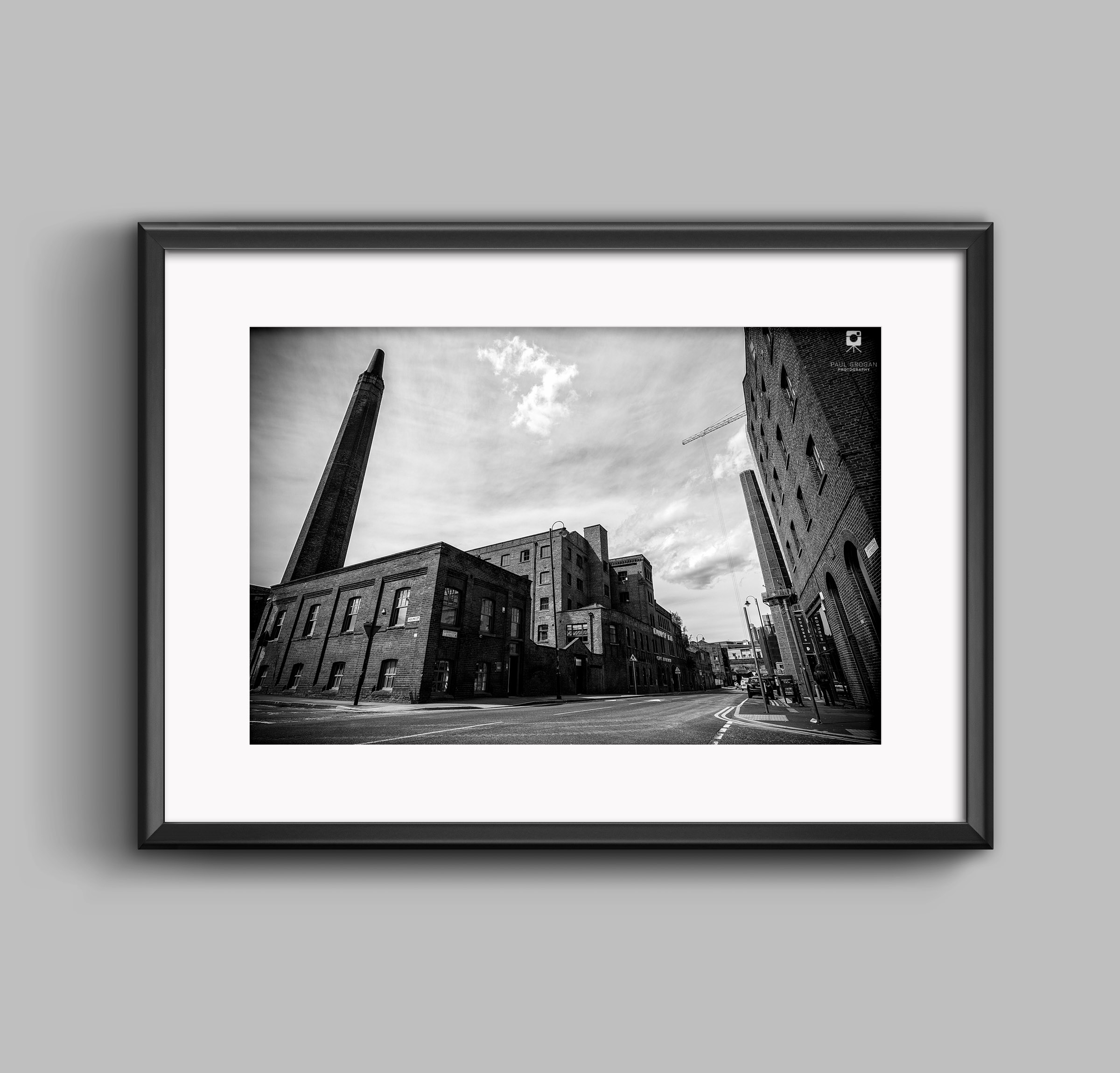 Black and white landscape of manchesters factories