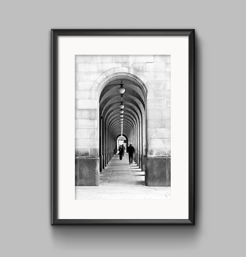 Town hall archways manchester urban black and white landscape