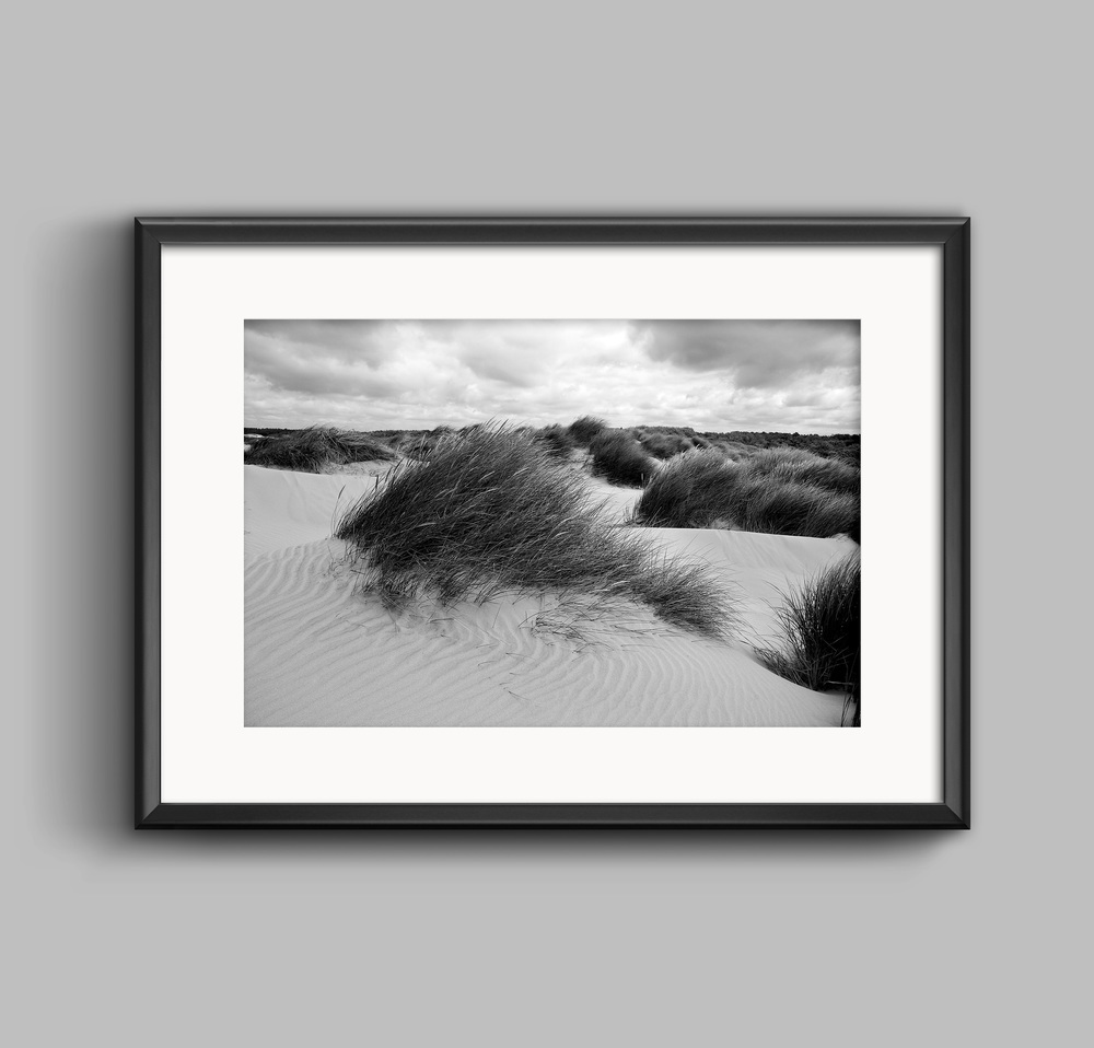 Formby Sand Dunes Black and White Landscape Photograph