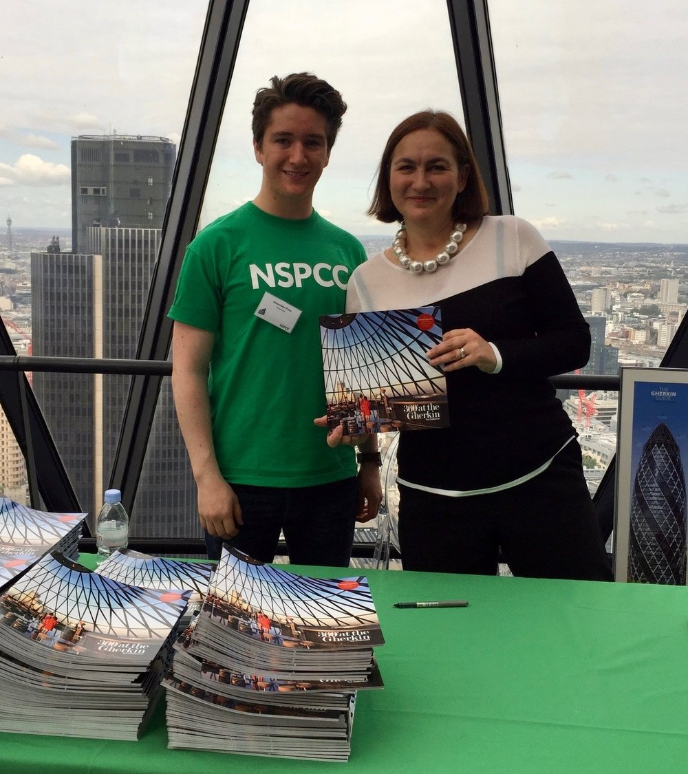 Special NSPCC edition copies of our book were given to each fundraiser at The Gherkin Challenge. With NSPCC volunteer Alex Price.