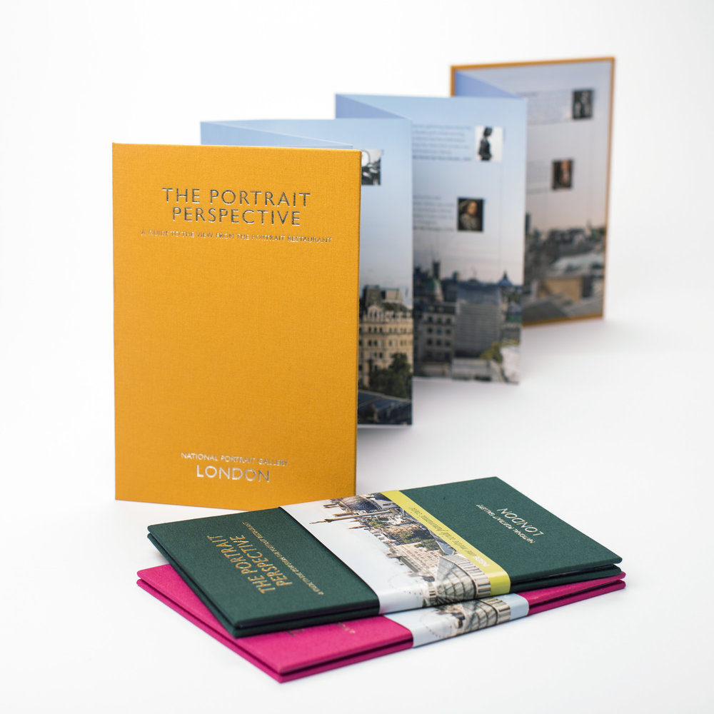 Cloth-bound view guides for the National Portrait Gallery