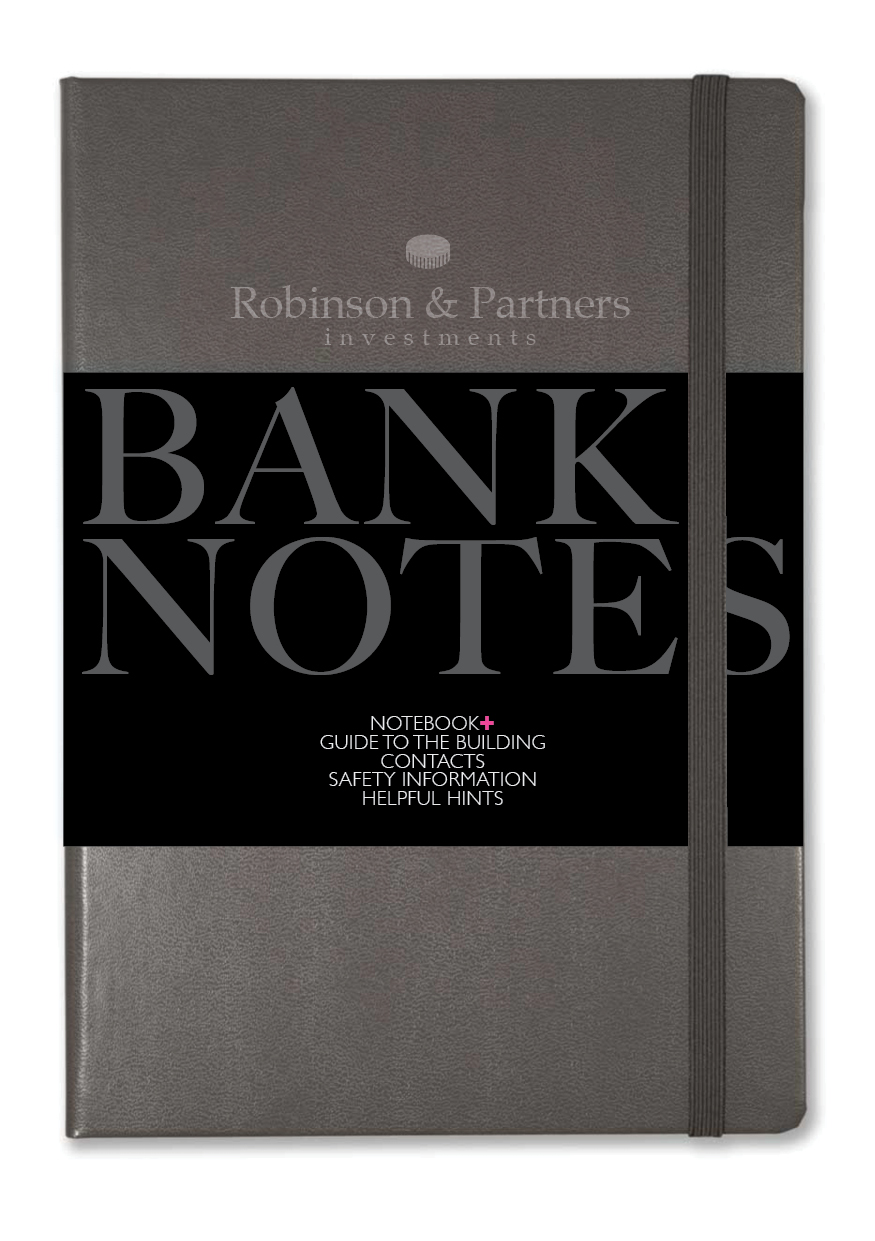 Robinson & Partners NOTEBOOK+ with removable guide to safety, contact numbers and helpful hints for new bank employees.