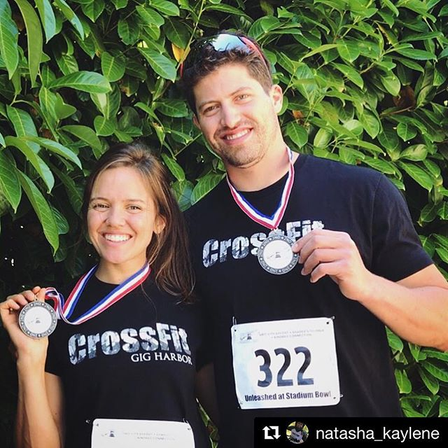 Proud of these two! ~ #Repost @natasha_kaylene with @get_repost ・・・ Traded the bikes in for a good ol' fashion foot race and I'd say we did alright. 💃🏽🥈🕺🏻 #UnleashedStadiumBowl #PRedThatShit #StadiumStairs #ifyourenotfirstyourelast #SecondBest #CrossFitGigHarbor #TrainHard #ReachYourPotential #PSILoveYou #Me&MyPIC