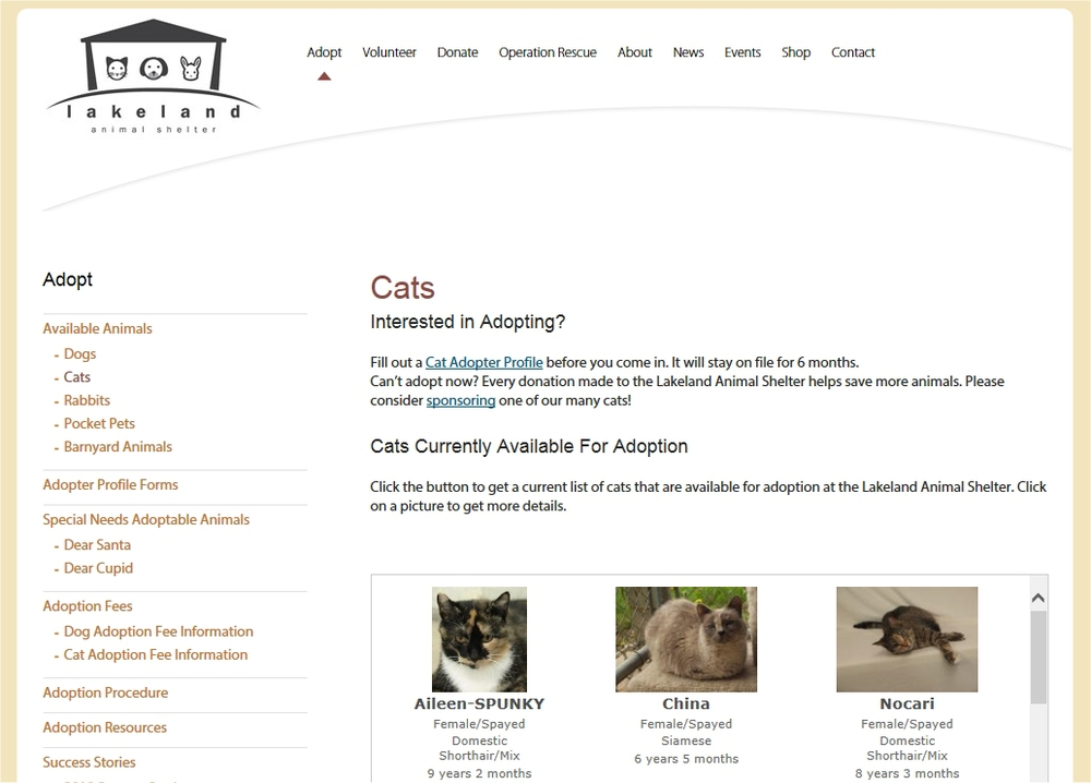 Lakeland's Cat Adoption page.  Click the thumbnail to visit Lakeland's site and see what kitties are looking for homes!