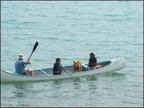 Your dog won't swamp your vacation if you've done plenty of prep work closer to home. Well before the trip, practice and reinforce any skills she'll need to display, such as staying in her designated spot in the canoe.  (Photo and caption courtesy of  The Whole Dog Journal .)