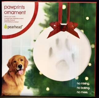 Create an ornament with a lasting impression of your pet's pawprint for your tree this year! No mixing, baking or mess.