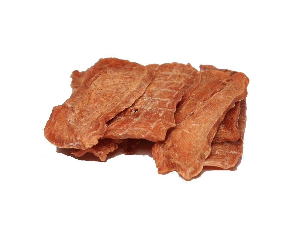 Barky Bites Chicken Jerky.  100% Chicken Breast Meat, Himalayan Salt, Lemon Juice Wash.  Hand-sliced, small batch. Made in the USA!