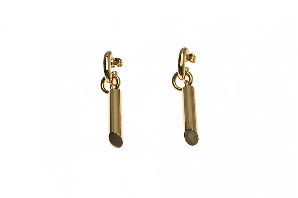 DROP EARRINGS TUBE CUT GOLD