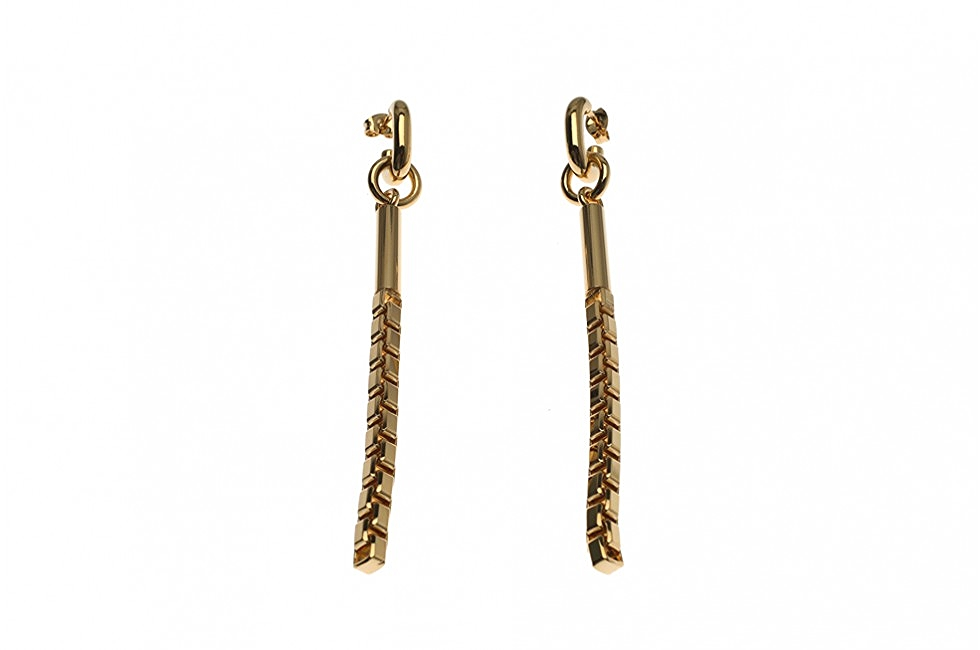 DROP EARRINGS TUBE AND CHAIN GOLD