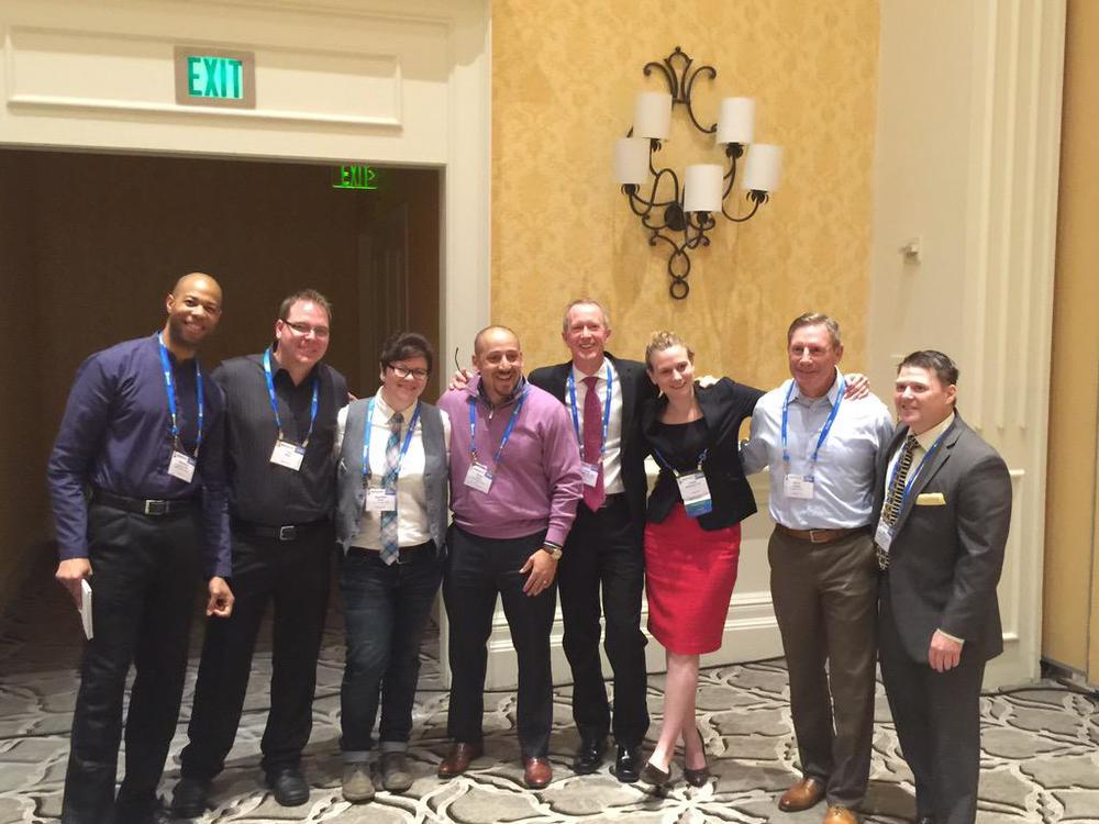 The lived experience crew at #NatCon15: DeQuincy Lezine, Craig Miller, little ol' me, Kevin Hines, David Covington, Ursula Whiteside, Kevin Briggs, and Bart Andrews