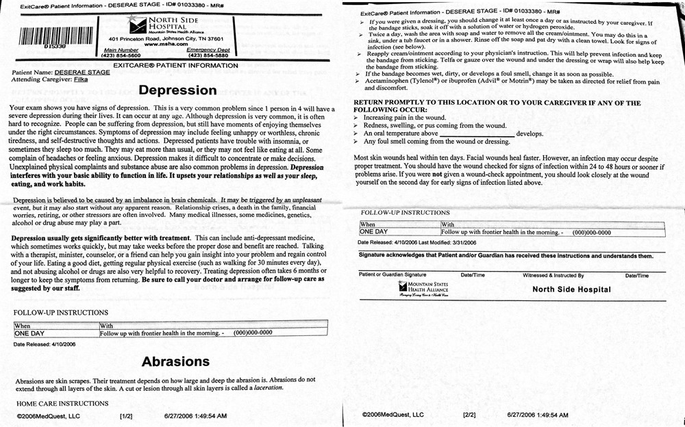 The discharge papers I received from the hospital after my suicide attempt, June 27, 2006.