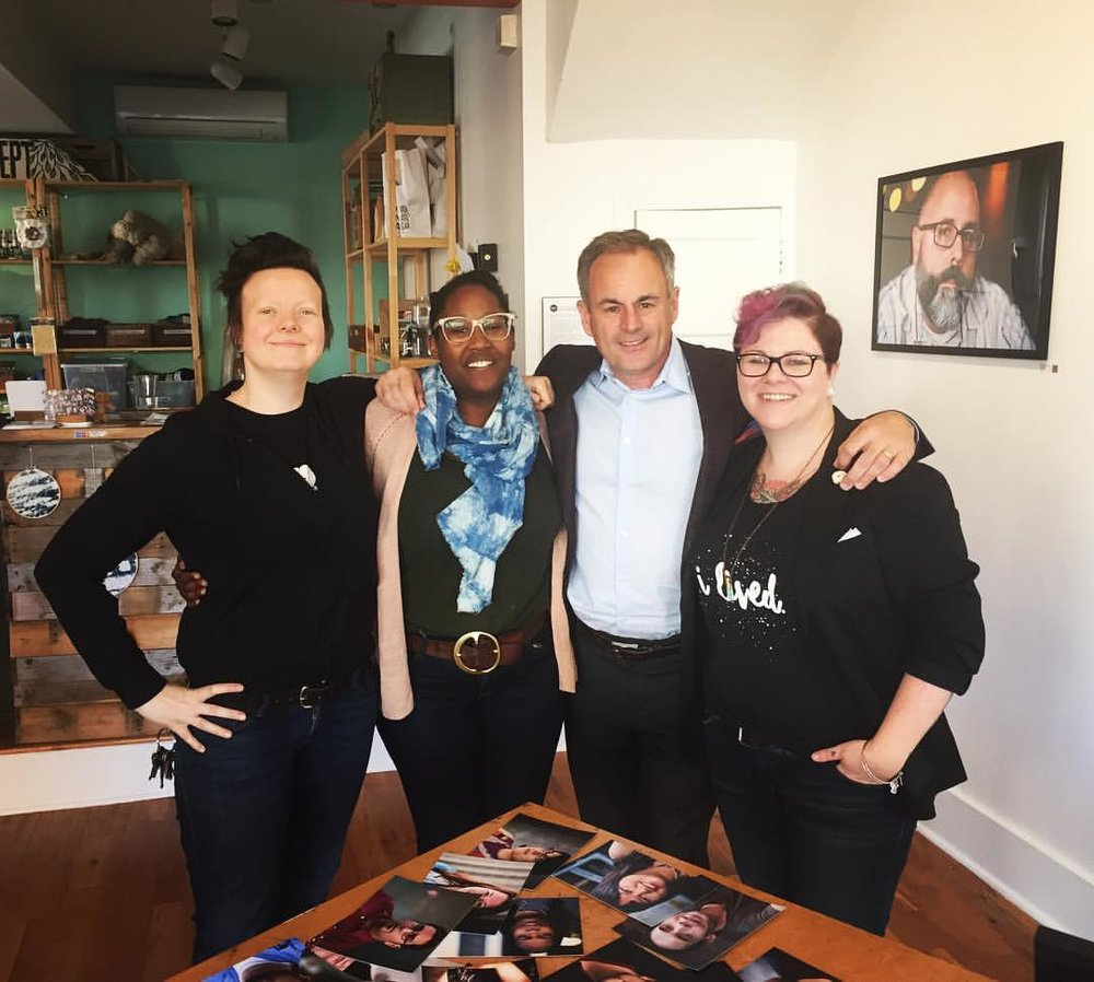 Me and the Art Dept ladies, Kate and Emily, with CBS Evening News correspondent Mark Strassman, who flew all the way in from Atlanta to interview me today.