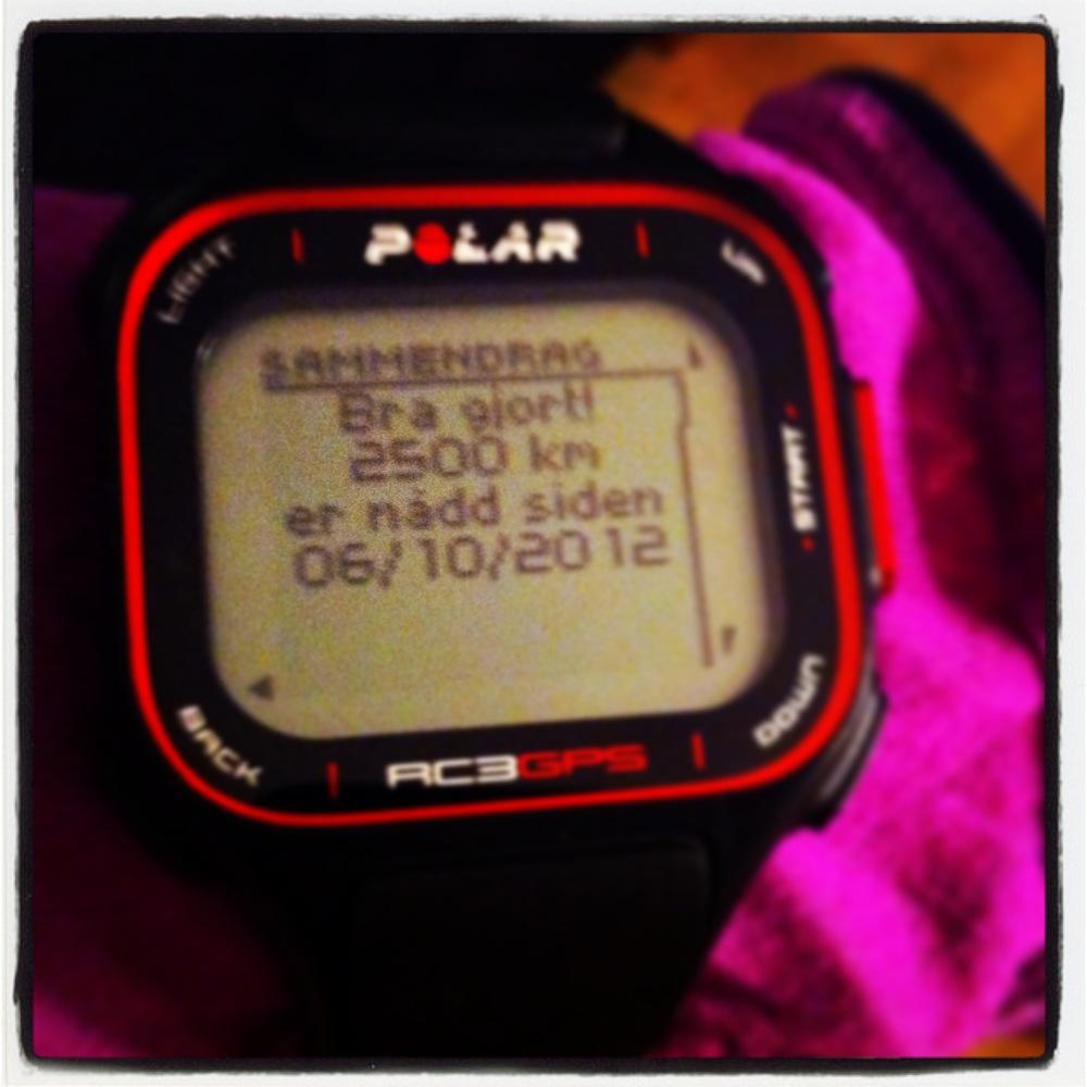 Plutselig milepæl oppnådd denne uka - 2500 km på litt under ett år er godkjent! Denne fikk jeg se helt uventet etter en kjempefin løpetur på tirsdag - da livet fortsatt var verdt å leve
