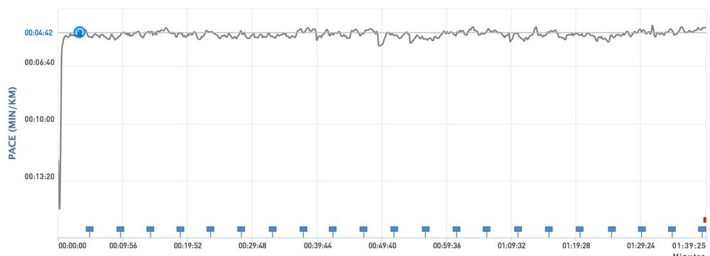 Aksen er for grovinndelt til at denne grafen egentlig gir mening. Kanskje jeg finner ut av det før jul. 4:42 er uansett 2 sekund bak målet