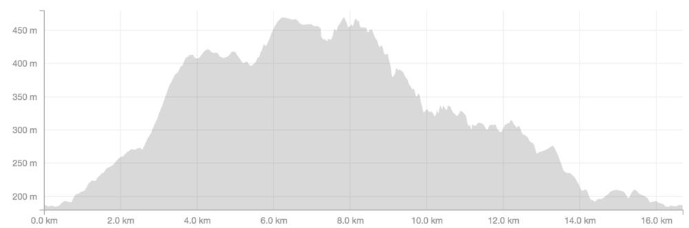 Slik ER løypeprofilen på 17 km