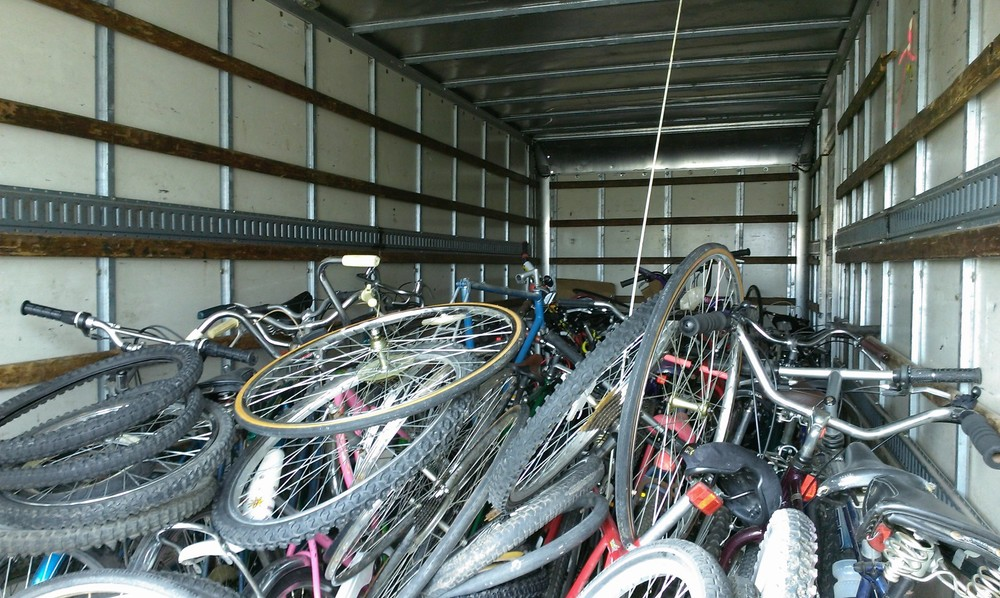We filled the back half of the truck today, about 25 bikes or so and lots of wheels.