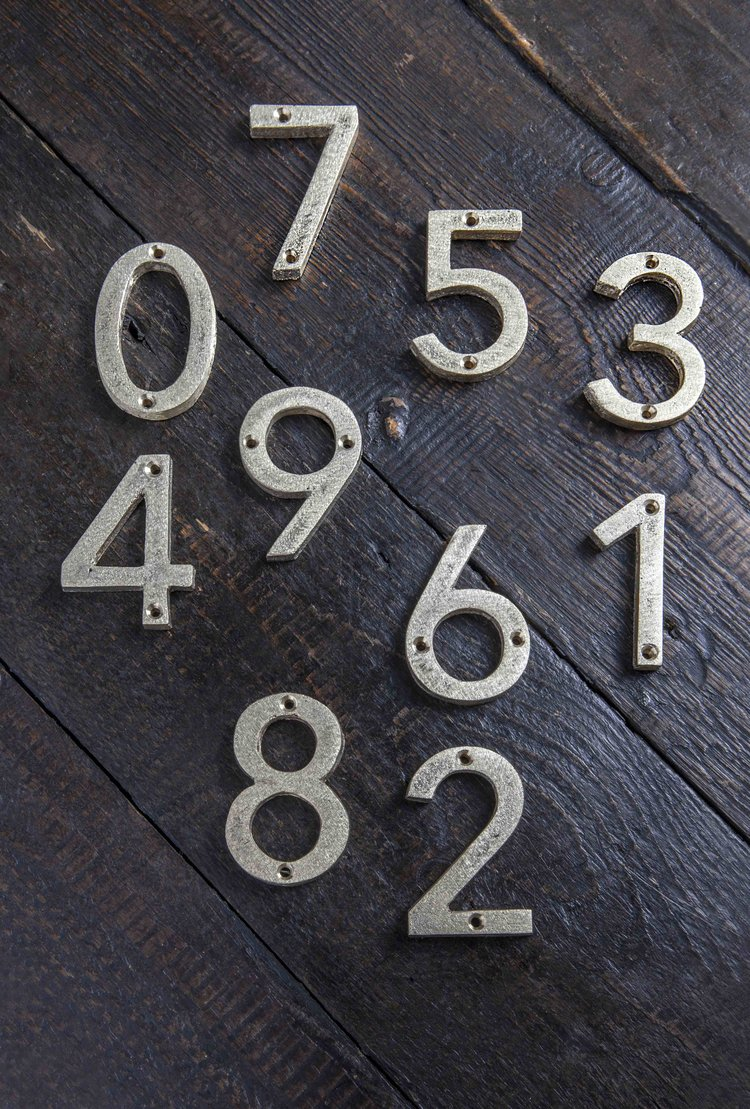Cast bronze door numbers