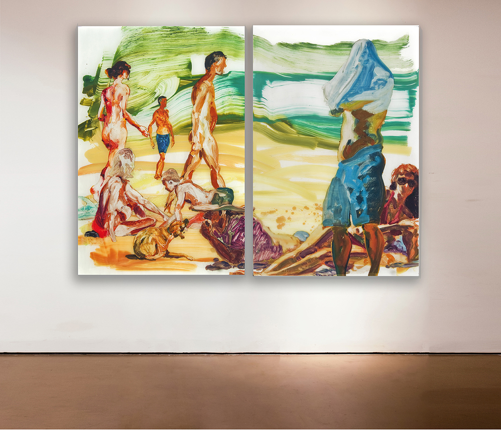 Untitled , 2013 Medium: Unique mixed-media composition: hand-painting with digital pigment prints on acetate in poured resin Dimensions: 40 x 60 inches each Pencil signed, verso