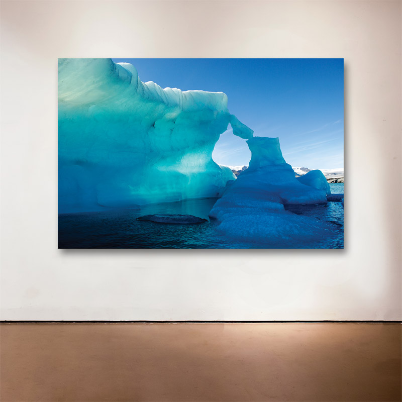 Ice Fin, Jökulsárlón, Iceland, 2007    -  2015 Medium: Sublimation on Aluminum Dimensions: 32 x 48 inches  Edition of 9 + 2 Artist Proofs