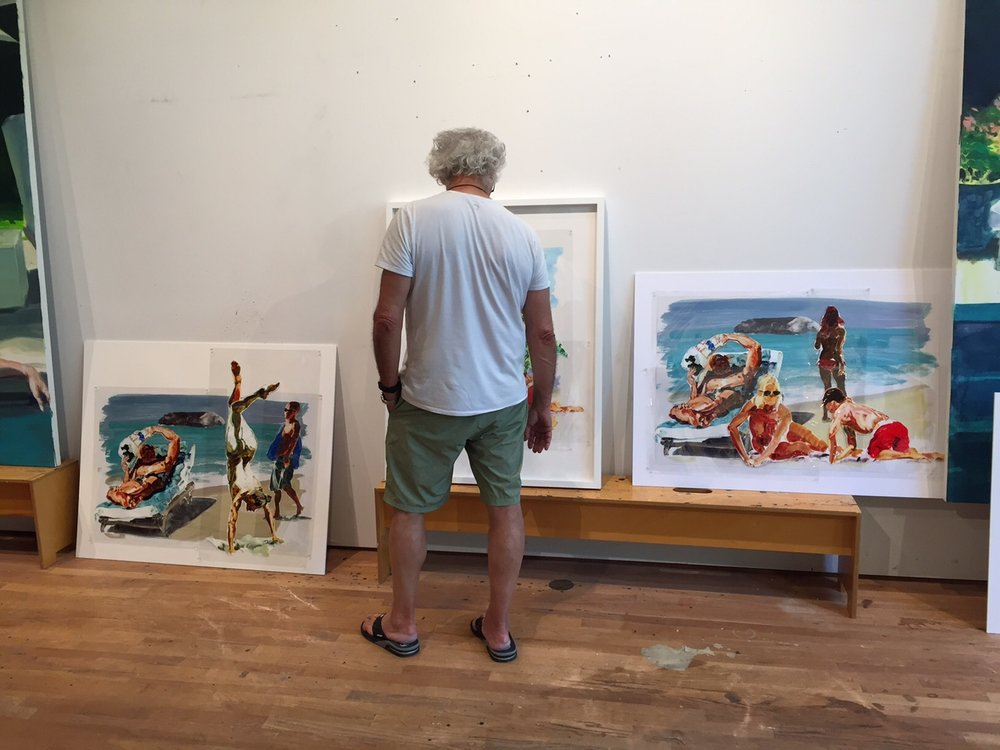 Eric Fischl working on new mylar compositions. Long Island Studio, 2017