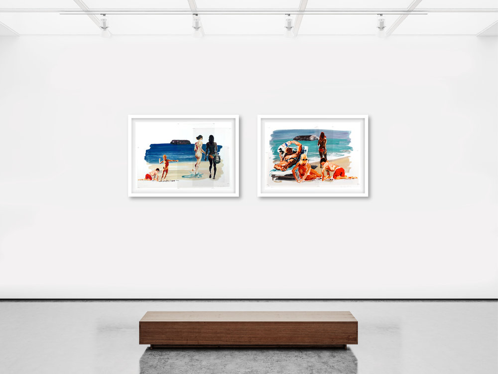 "(L)  Untitled (Girls Walking Boy Throwing Stone) , 2017, 34.5"" x 48.5"", (R)  Untitled (Family) , 2017, 34.5"" x 48.5""  Sublimation on mylar with pins and digital pigment print on paper, mounted to acid-free board"