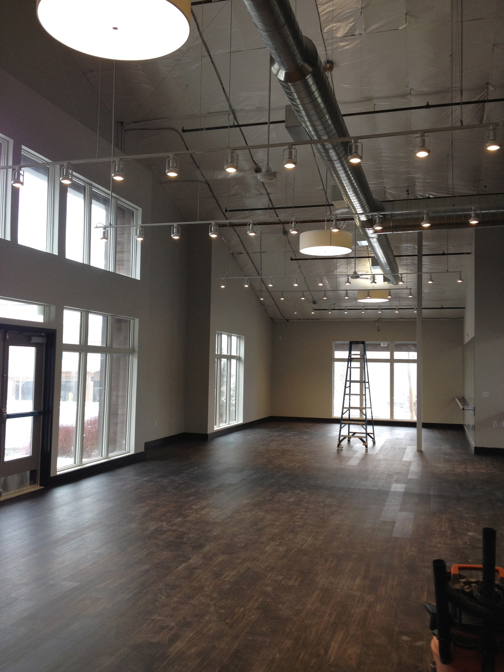 Aspire Total Fitness main studio while still under construction.