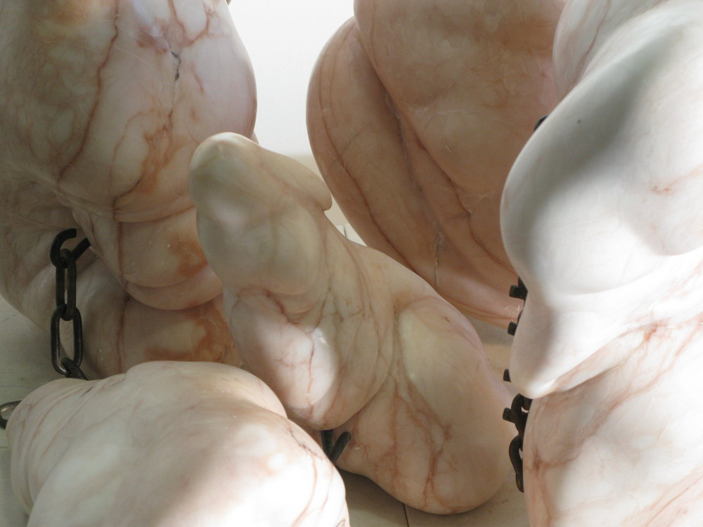 """Flesh Fold Series"" Mozart Alabaster and Chains"