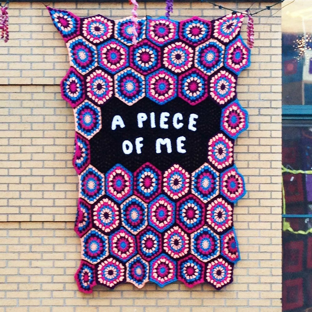 "A Piece Of Me, 2017, 88"" h x 16"" w x 1/4"" d, Namesake Installation in Dunning Courtyard in conjunction with New Threads: Perspectives in Contemporary Fiber Art at Laband Art Gallery, Los Angeles, CA. A Piece Of Me - Art is a piece of someone's heart and soul. A self-expression left behind. What impact will you have on the world? What will you leave behind?"