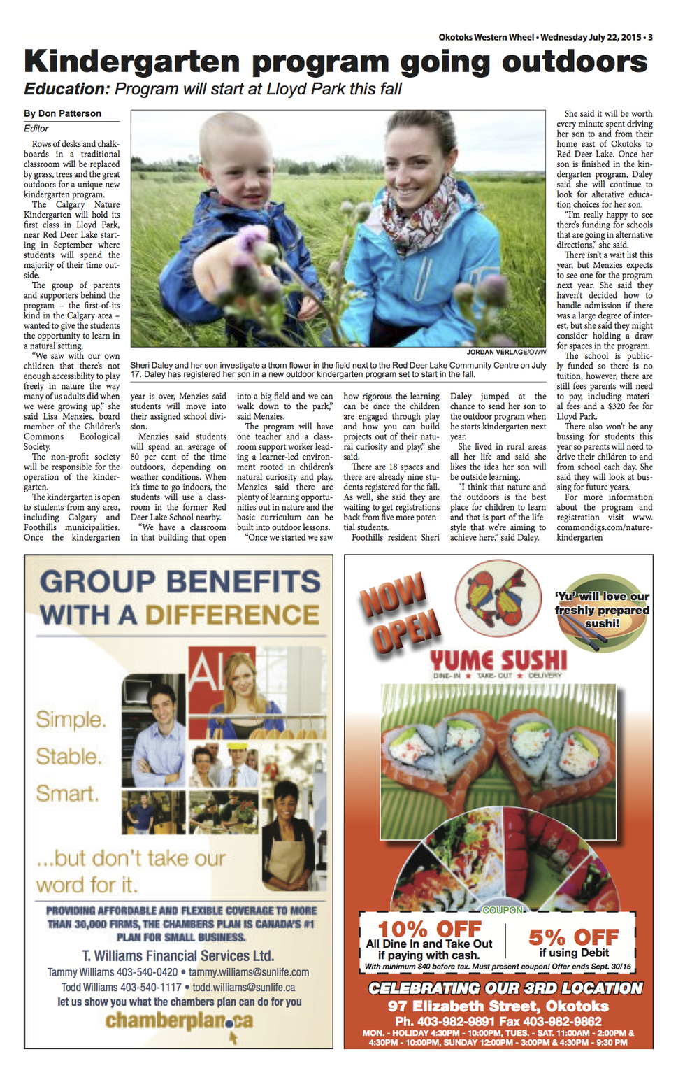 Okotoks Western Wheel, July 2015:   Kindergarten program going outdoors PAGE 3