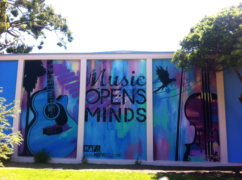 Music Opens Minds. Exterior Wall, Stucco.     3 Panels. Each 10' x16'