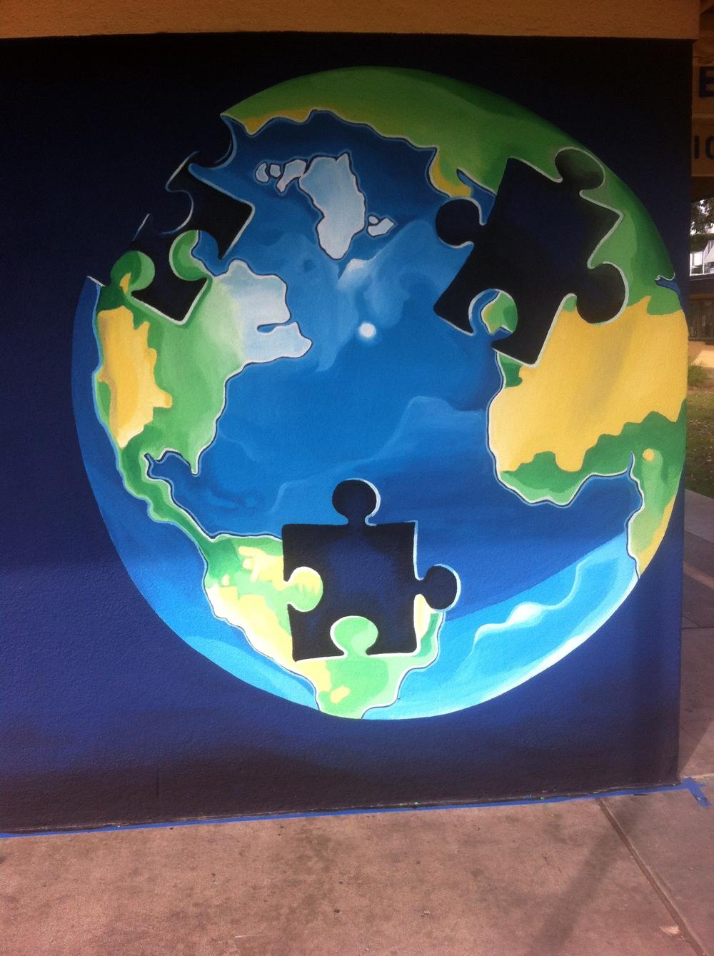 Puzzle Globe. Exterior Wall, Stucco. 7' x 7'