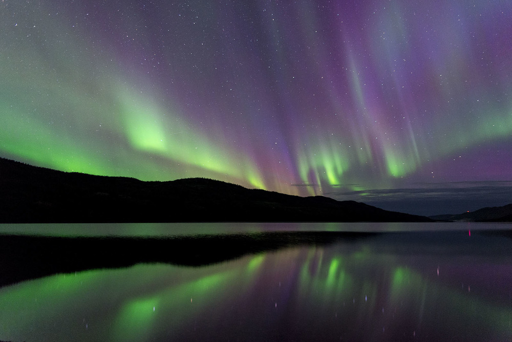 The aurora over Fox Lake in the Yukon.