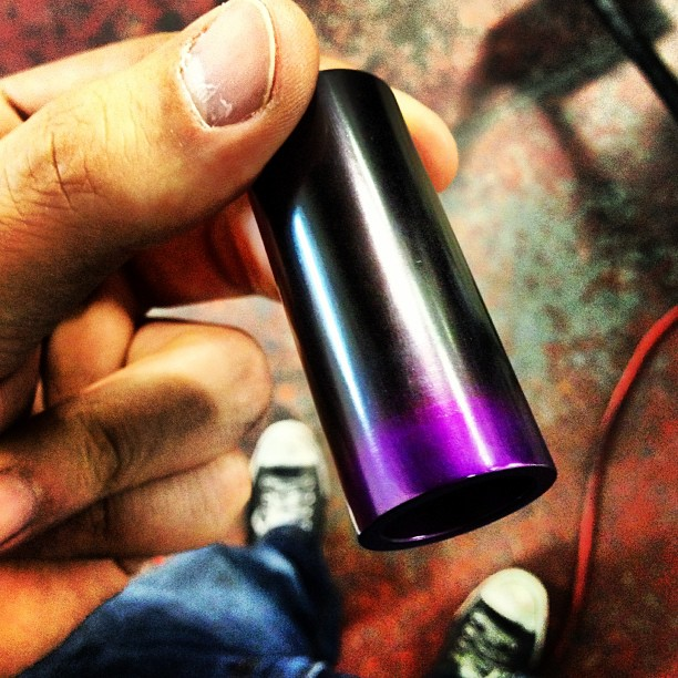 Anodized Aluminum Guitar Slide by ANOTONE.  Anodized with a Fade; Purple to Black!