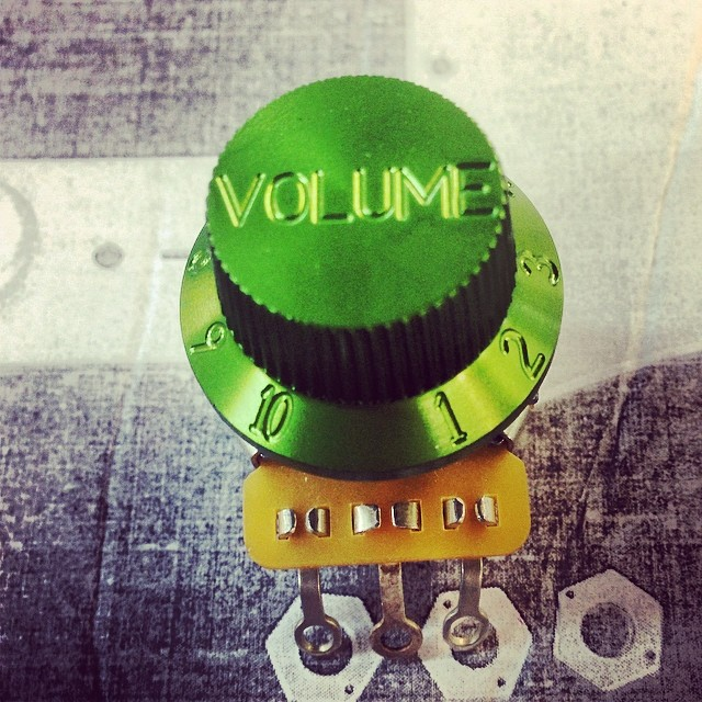 Aluminum; CNC Machined, Green Anodized Stratocaster Style Knob