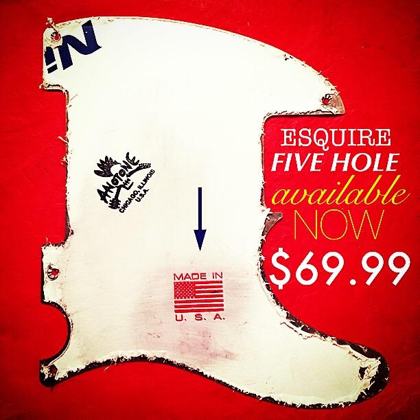 Anotone Anodized Aluminum Five Hole Esquire Pickguard Available Now