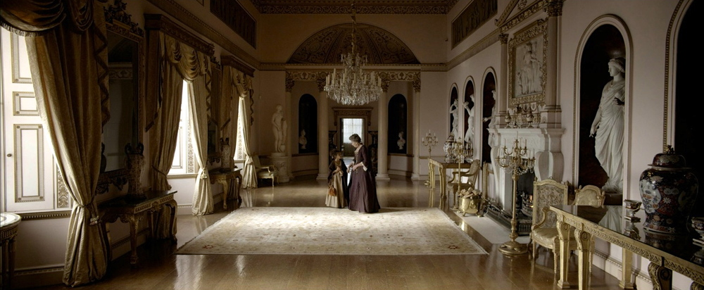 Dressed location for the hall at Kenwood House; pelmets made, curtains made, chandelier hung, statues added, fully dressed.