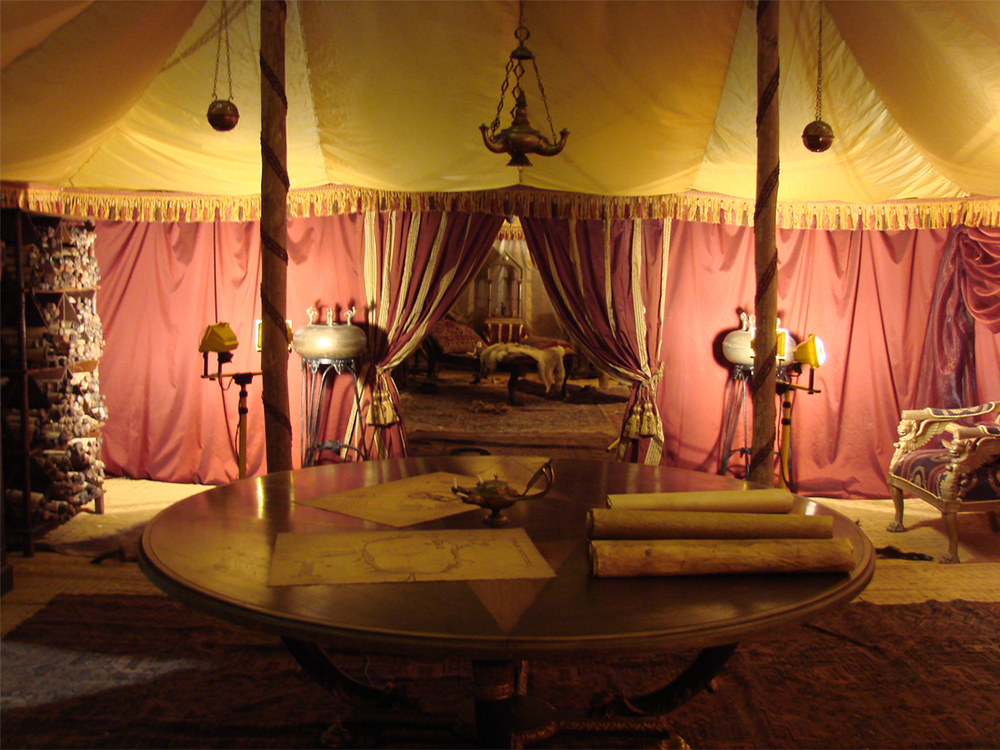 Chancellor Agricola's private tent, shot at Shepperton Studios.
