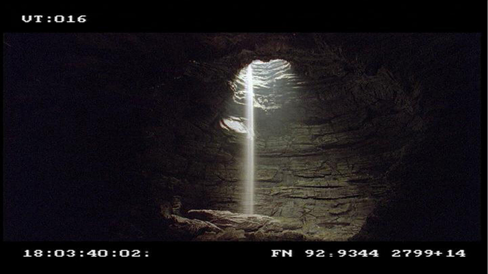 Screen shot of Cave Entrance model which stood 12 foot high with a waterfall created by pouring a mixture of salt and talcum powder from above the set.