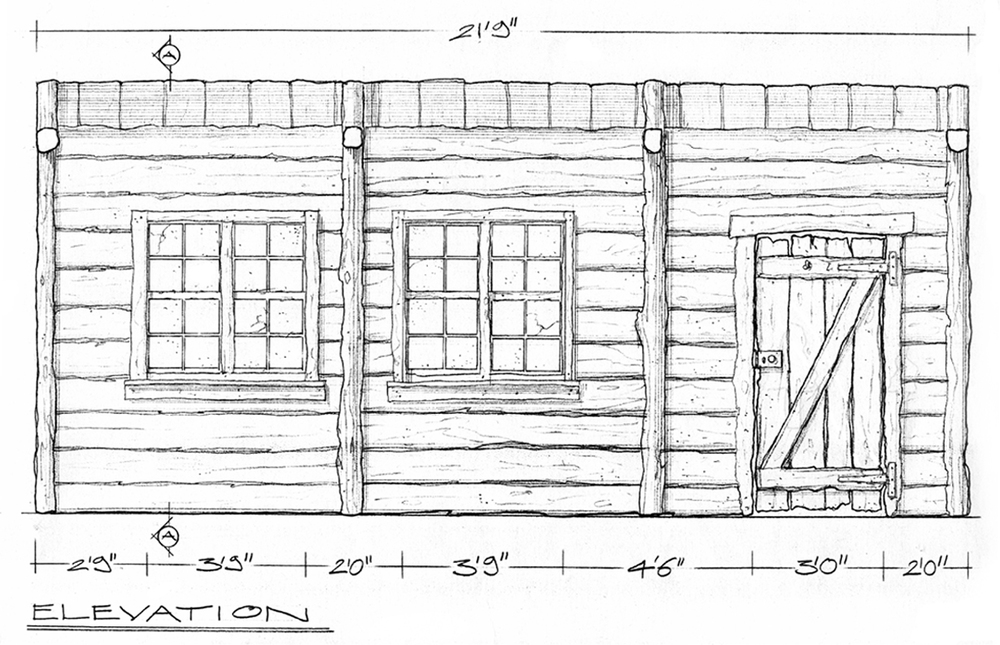 Scale drawing of interior cladding detail.
