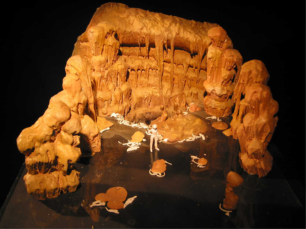 Scale model of the set with miniature character.