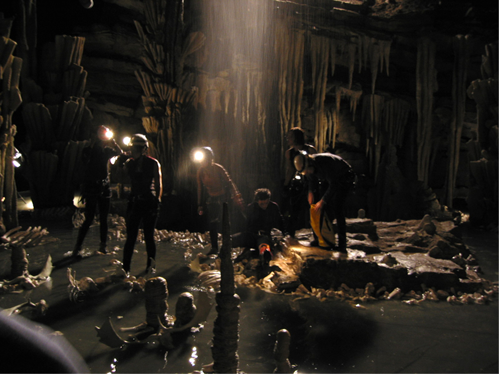 Filming the actresses climbing up into the cave.