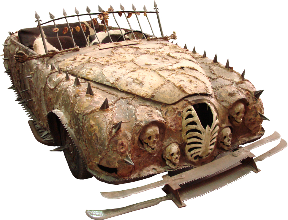 Marauder lead Sol'd car with human skin stretched across it's bodywork.
